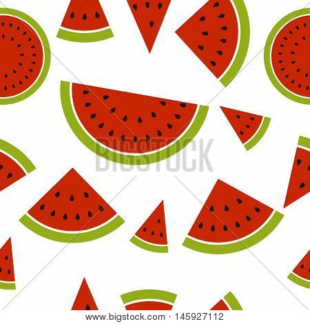 Watermelon seamless pattern made from pieces and segments sliced watermelon vector illustration for print or website design