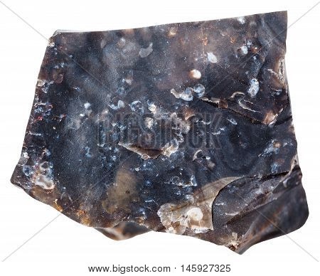 Black Flint Stone Isolated On White