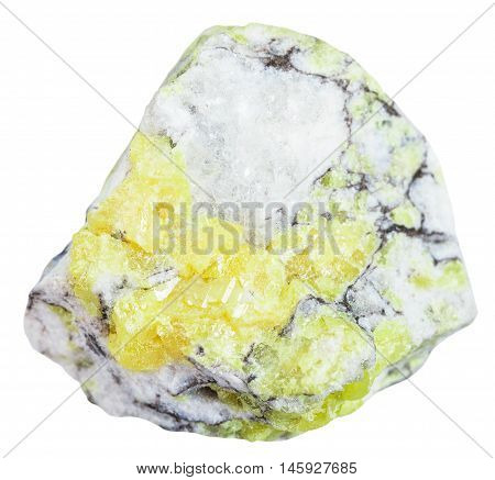 Stone With Sulfur ( Brimstone, Sulphur) Isolated
