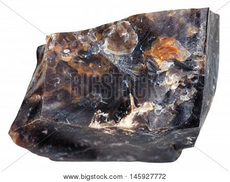 Black Flint Mineral Isolated On White