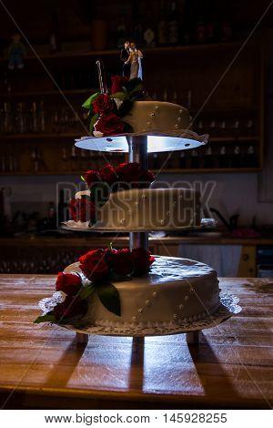 Wedding Cake Flash Contrast Three Layer Bartop Reception