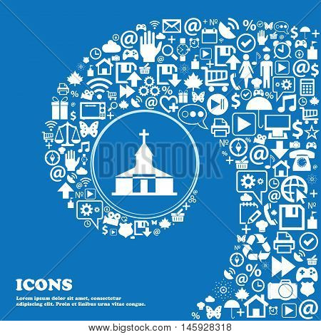 Church Icon . Nice Set Of Beautiful Icons Twisted Spiral Into The Center Of One Large Icon. Vector