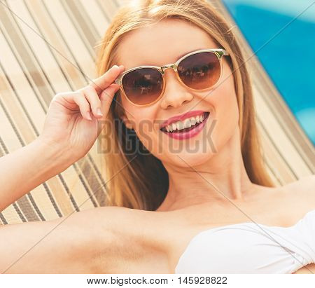Attractive Girl At The Pool