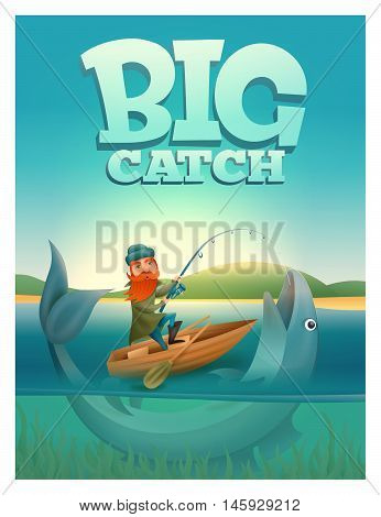 Big catch poster with fisherman in boat catching giant fish
