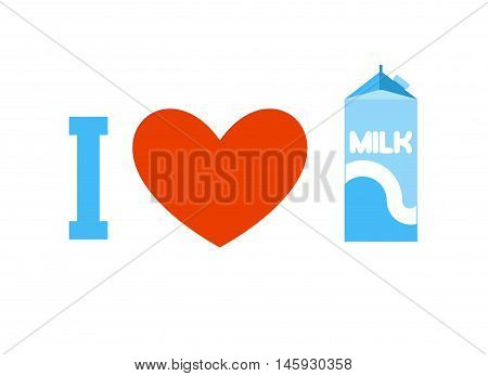 I Love Milk. Heart And Carton Of Milk. Eemblem For Lovers Of Dairy Products