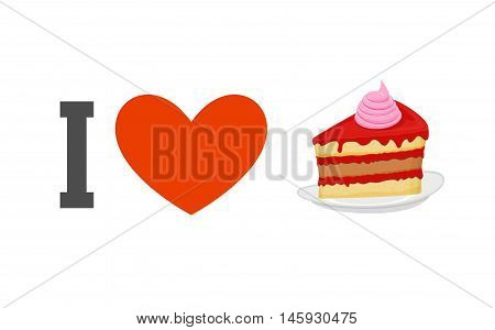 I Love Cake. Heart And Piece Of Cake. Logo For Sweet Tooth. Dessert In Plate