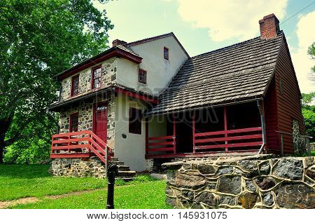 Chadds Ford Pennsylvania: - June 9 2015: The Gideon Gilpin House used by the Marquis de Lafayette as his headquarters during the 1777 Revolutionary War Battle of the Brandywine *