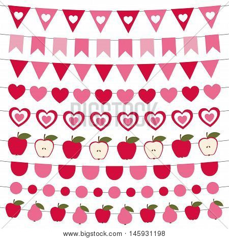 Valentine's Day bunting banners and pink decoration set