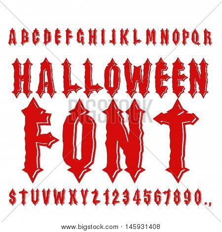 Halloween Font. Ancient Alphabet. Blood Gothic Letters. Vintage Abc. Bloody Awful Lettring For Holid