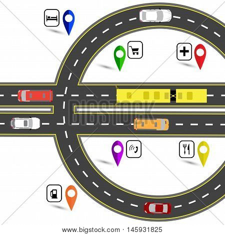 Road junction resembling a euro sign. The path for the navigator. Humorous image. Vector illustration