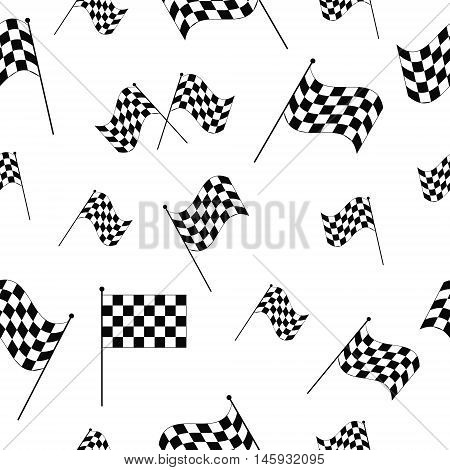 Checkered flags seamless pattern, flags for the race start and finish, vector illustration for print or website design - seamless race