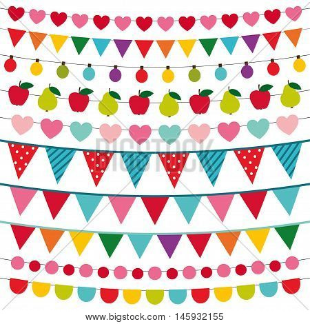 Colorful bunting banners and cute decoration set