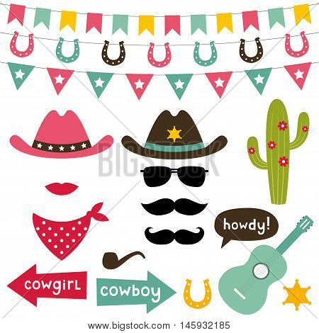 Cowboy design elements and photo booth props set