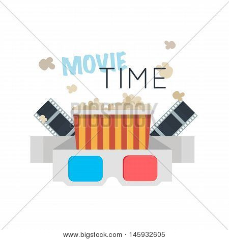 Movie Time flat design illustration. Concept design movie watching with 3 D glasses ,popcorn,film. For web, graphic,motion design