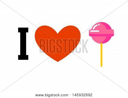 I Love Lollipop. Heart And Candy On Stick. Emblem For Lovers Of Sweets