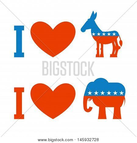 I Love Democrat. I Like Republican. Symbol Of Heart, Donkey And Elephant. Poster For Elections In Us
