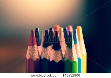 Colour Pencils. Styled Concept Photo