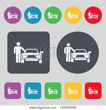 Person Up Hailing A Taxi Icon Sign. A Set Of 12 Colored Buttons. Flat Design. Vector