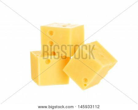 Cubes of cheese isolated on white background