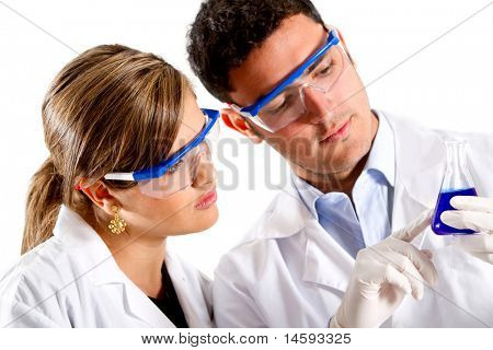 Chemists using test tubes - isolated over a white background