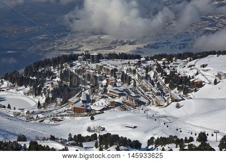 Ski complex view in Chamrousse, France