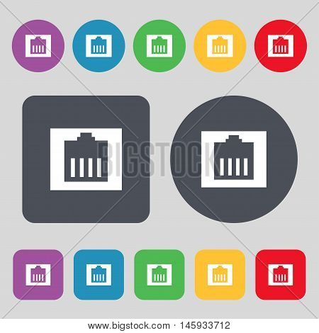 Internet Cable, Rj-45 Icon Sign. A Set Of 12 Colored Buttons. Flat Design. Vector
