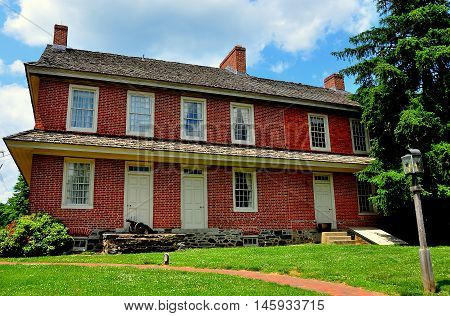 Dilwowrthtown Pennsylvania - June 9 2015: Brick colonial-era Dilworthtown Inn has offered lodging and dining to patrons since 1758 *