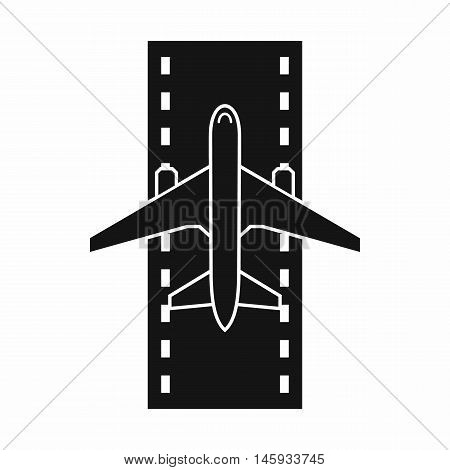 Airplane on the runway icon in simple style isolated on white background vector illustration