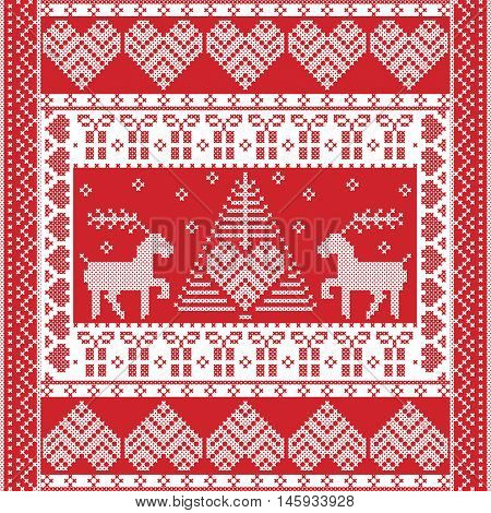 Scandinavian style and Nordic culture inspired Christmas and festive winter square  pattern in cross stitch style with Xmas tree, reindeer, hearts, snowflakes, stars, and decorative ornaments in red
