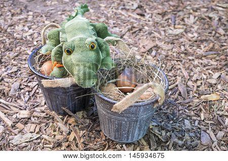Stuffed Alligator Guarding Freshly Laid Brown Eggs
