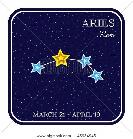 Aries zodiac constellation in square frame, cute cartoon style vector illustration isolated on white background. Square horoscope emblem with Aries ram constellation, zodiac sign name and month