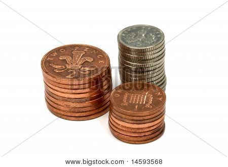 British Money Coins Stacked