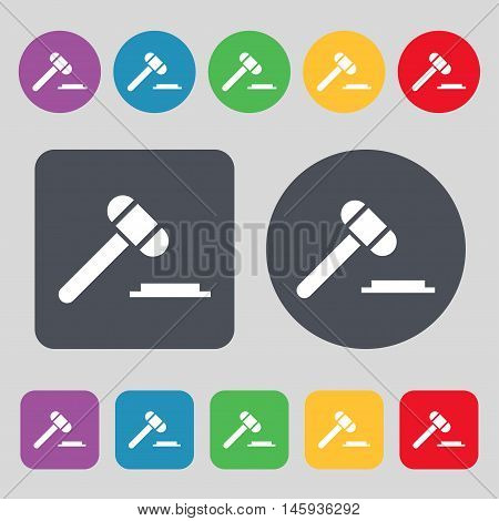Judge Or Auction Hammer Icon Sign. A Set Of 12 Colored Buttons. Flat Design. Vector