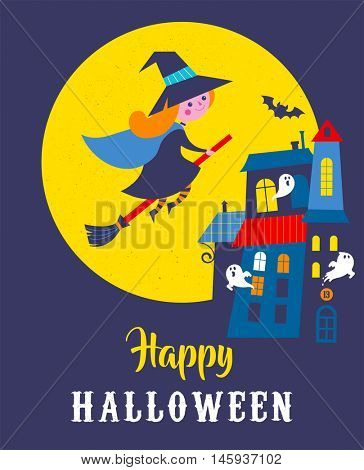 Halloween cute vector greeting cards, posters, banner with witch and haunted house, castle