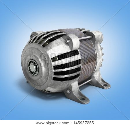 Electric Motor 3D Render Isolated On The Gradient Background