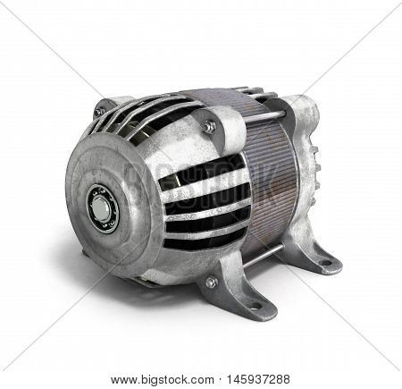 Electric Motor 3D Render Isolated On The White Background