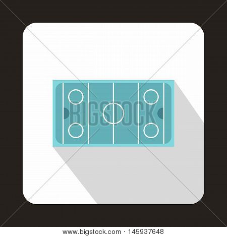 Hockey pitch icon in flat style with long shadow. Championship symbol vector illustration