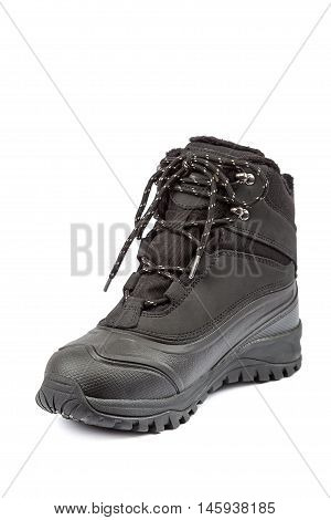 Winter fashion boot isolated on white background.