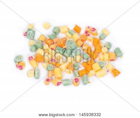 Hard home made all natural candies on white background