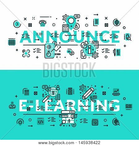Announce and E-Learning heading title web banner. Horizontal colored in white and turquoise flat vector illustration.