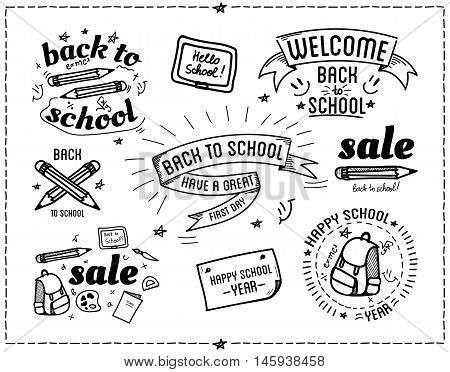 Back to school design typographic quotes poster set. Back to school vector background quote, catchword. Modern hand written lettering doodles elements, calligraphy phrases