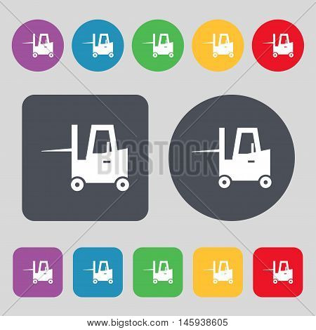 Forklift Icon Sign. A Set Of 12 Colored Buttons. Flat Design. Vector