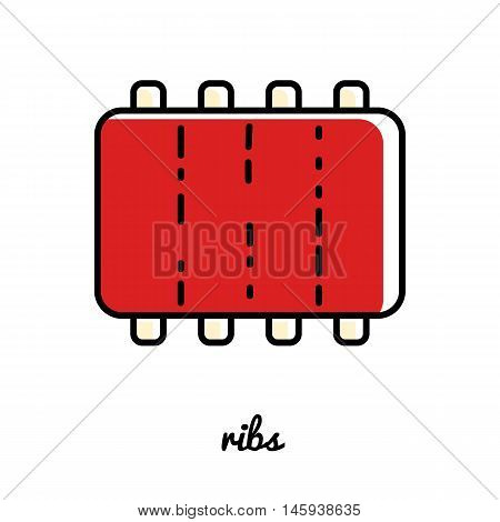 Line art ribs icon. Isolated vector illustrations. Infographic element