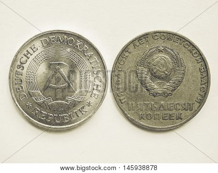 Vintage Vintage Russian Ruble Coin And German Mark Coin