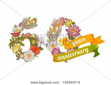 sixty (60) years anniversary sign of floral digits