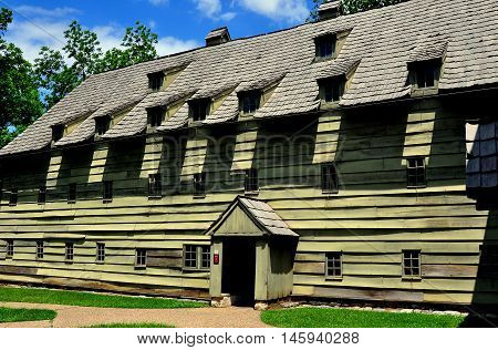Ephrata Pennsylvania - June6 2015: The wood frame 1743 Saron or Sisters' House at the historic Ephrata Cloister Germanic religious settlement *