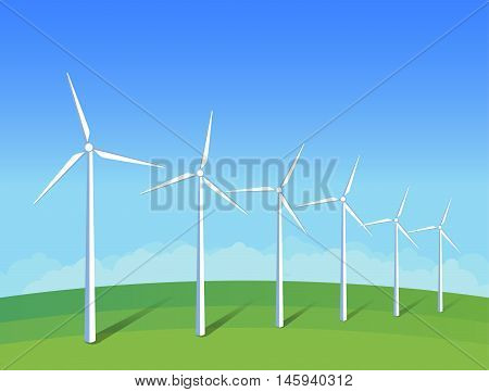 Electric windmills on green grass field on background blue sky. Ecology environmental illustration for presentations websites infographics. Flat vector art