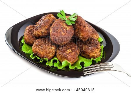Meat balls isolated on a white background.
