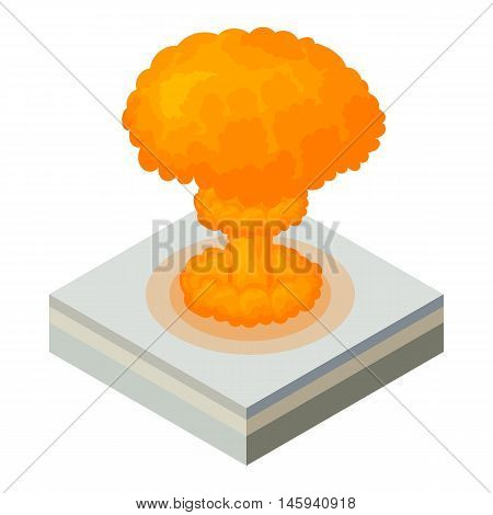 Nuclear explosion icon in cartoon style on a white background vector illustration
