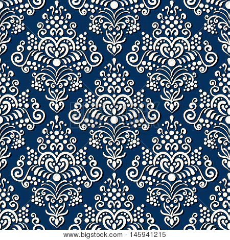 Seamless old style vintage background. Classic style texture for textile, fabric, scrap paper, background, etc. White ornament with shadow on dark blue background.